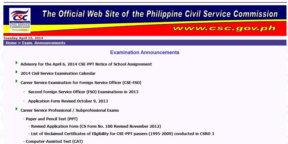 Schedule Of Civil Service Exam 2014 - Home